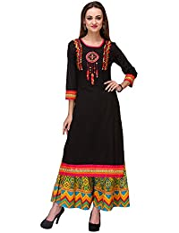 Varanga Cotton Cambric Embroidered Black Round Neck 3/4 Sleeve Kurta With Palazzo KF-AW15RAMA023_PZ165199_