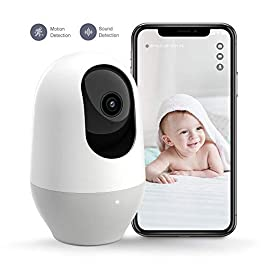 Baby Monitor, Nooie Telecamera di Sorveglianza WiFi,FHD 1080P 360° videocamera IP Interno Wireless con Visione Notturna, pet camera Audio Bidirezionale, Sensore di Movimento,Compatibile con Alexa