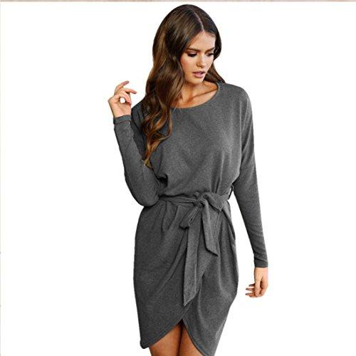 LSAltd Damen Elegant Bandage Langarm Kleid Solid Lose Casual Mini Gürtel Kleid (Grau, S)