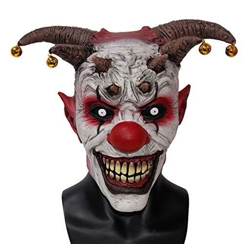 (BR Halloween Latex Clown Maske, Horror Bell Kopfbedeckung Wraith Scary Maske für Erwachsene)