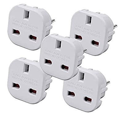 Travel Adapter - UK to EU Euro European adapter White Plug 2 Pin - Pack of 5