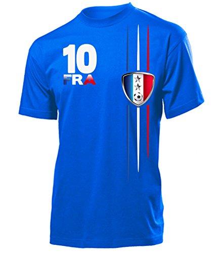 Frankreich Fanshirt Streifen 2 Sterne 6101 Herren T-Shirt (H-B) Gr. XL
