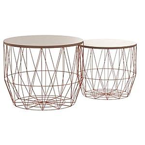 DuNord Design Beistelltisch Korb Metall rund 2er Set Couchtisch Arezzo Kupfer Eiche Tisch Ablage