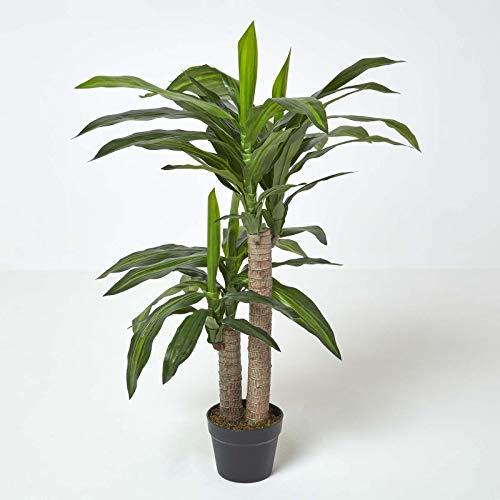Homescapes künstlicher Dracaena Fragrans/Drachenbaum, dekorative Kunstpflanze im Topf, hochwertige Dekopflanze, naturgetreue Indoor-Pflanze, Drachepalme, 90 cm