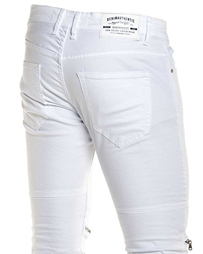 BLZ jeans - Jeans blanc homme street nervuré zips fantaisie Blanc