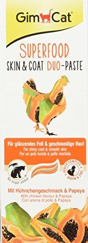 GimCat Superfood Skin&Coat Duo-Paste mit Hühnchengeschmack und Papaya – Katzenpaste ohne Zuckerzusatz mit Biotin & Zink zur Haut- & Fellpflege – 5er Packung (5 x 50g)