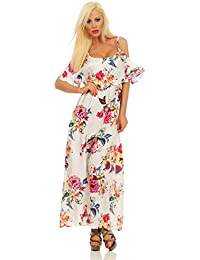 3832 Fashion4Young Damen Maxikleid Sommerkleid Volants Langes Kleid Geblümt Partykleid