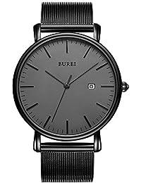 BUREI Herren Uhren Ultra Dünne Minimalistische Quarzuhr mit Datumsanzeige für Damen und Herren Classic Design