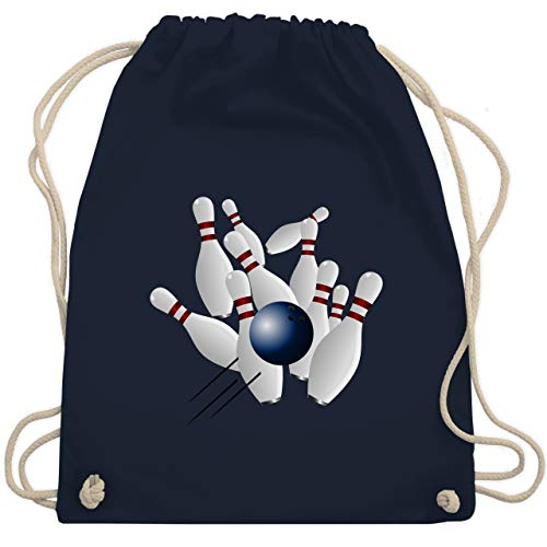 Shirtracer Bowling & Kegeln - Bowling Strike Pins Ball - Unisize - Navy Blau - WM110 - Turnbeutel und Stoffbeutel aus Bio-Baumwolle