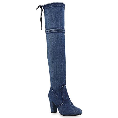 Denim Fashion Stiefel (Damen Stiefel Overknees Wildleder-Optik Blockabsatz Langschaftstiefel Boots Schleifen Schuhe 146432 Blau Denim 38 Flandell)