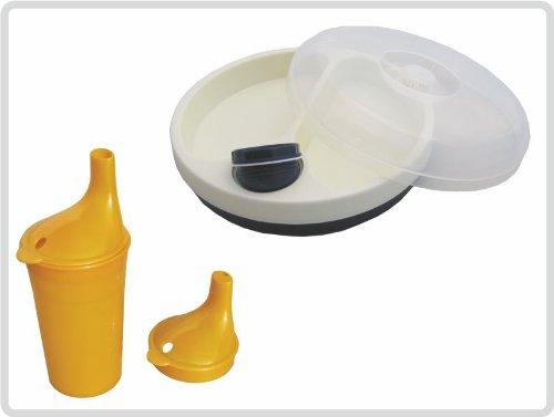Schnabelbecher/ Trinkbecher mit Deckel für Tee und Brei, langes Mundstück, Farbe: ORANGE + Warmhalteteller mit Deckel *Top Qualität zum Top Preis* -