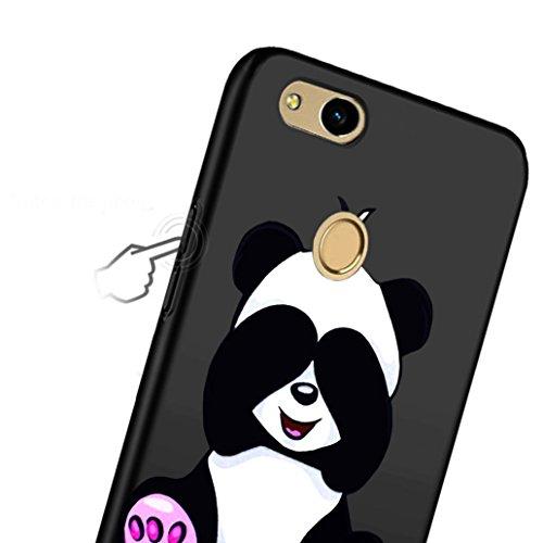 Cover Huawei P8 Lite (2017), Yoowei® 0.8mm Estremamente Sottile Morbido TPU Silicone Gel Gomma Case Posteriore Della Copertura Della Protezione Antiurto Anti-Graffio per Huawei P8 Lite (2017), Nero Lovely Panda