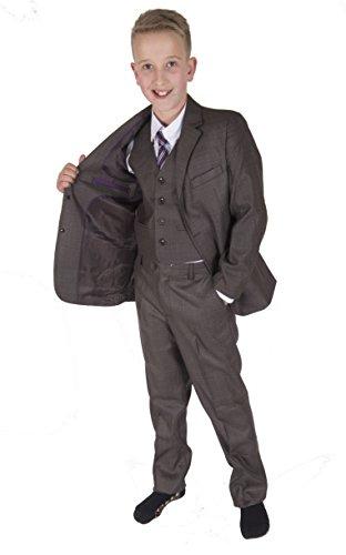 Cinda 5 Stück Grau Boy Anzüge Hochzeit Anzug Junge Seite Partei-Abschlussball -Klagen Braun grau 92-98