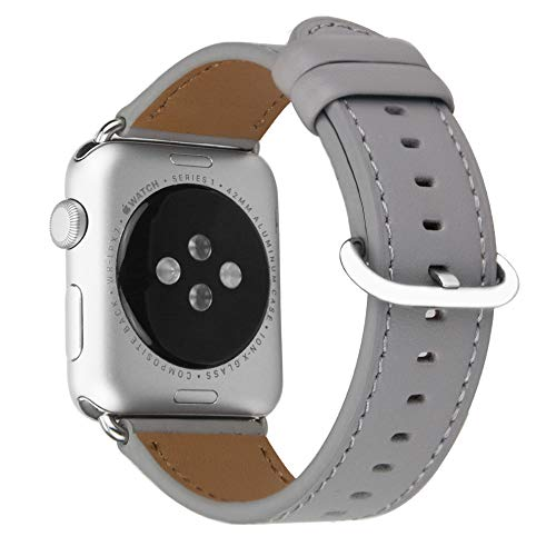 MroTech Replacement for iWatch 44mm Strap 42mm Watch Band cow Leather Band/Strap Soft Bracelet compatible for iWatch Series 4,Series 3,Series 2,Series 1,Sport, Edition (42 mm /44 mm, Gray)