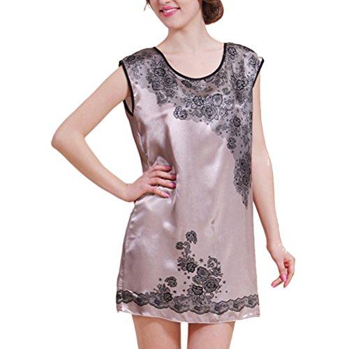 Zhhlaixing Womens Ladies Silk Satin Sleeveless Vest Chemise Nightdress Camel