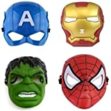 Sage Square Super Hero Cartoon Plastic Mask - Set of 4 Avengers Birthday Party Props Return Gift (Captain America, Hulk, Iron Man & Spiderman)