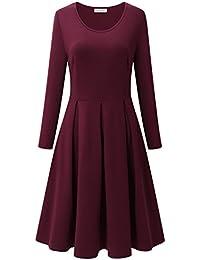 bd5e4818fb3225 Bulotus Damen Knielange Kleider Schwarz Plissee Flare Damen Kleider
