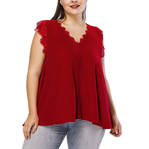 Onesie Damen Plus Size,Mode Frauen Plus Size Solide V-Ausschnitt Spitze Sleeveless Beiläufiges Tank Up Tops Bluse Rot,2XL (Plus Size Onesies)