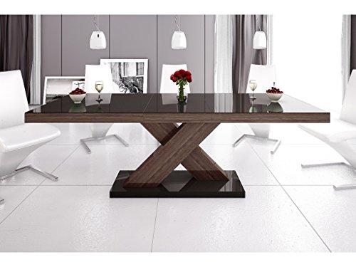 H MEUBLE Table A Manger Design Extensible 160÷210 CM X P : 89 CM X H: 75 CM – Brun