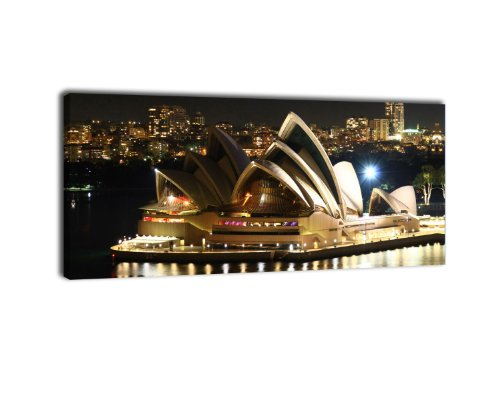 Leinwandbild Panorama Nr. 164 Sydney Opera 100x40cm, Keilrahmenbild, Bild auf Leinwand, Australien City Skyline