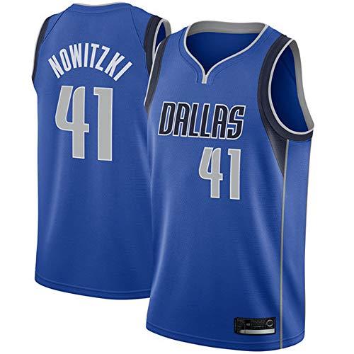 Sommer Basketball T-Shirt NBA Dallas Mavericks 41# Nowitzki, Herren Basketball Uniform Klassisches Stickerei Top
