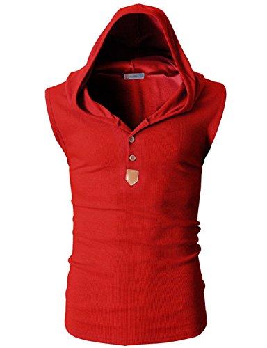 Lannorn 8 Farben Herren Slim Fit Tankshirt Ärmellos Shirt Kapuzen Hoodieshirt, Sommer Sport Unterhemd Pullover Tank Top Patchwork mit Kapuze Rot