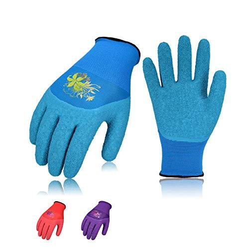 Vgo 3 Paare Moosgummi-Beschichtung Garten-und Arbeitshandschuhe, 3/4 Schaumlatexpalm, Finger und Knuckle beschichtet, Multifunktion (8/M, Rot+ Blau + Lila, RB6017)
