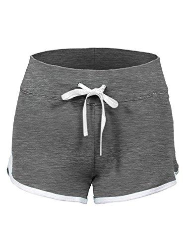 SWISSWELL Damen Sport Shorts Kurze Hosen Baumwolle Yoga Athletik Tanzen Shorts Fitness Hot Pants Hipster Workout, mit leichtem Figur formenden Effekt Grau M
