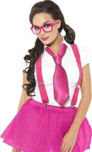 Geek Kit mit Brille Zahnspange und Krawatte, rosa (Geek Kostüm Ideen)