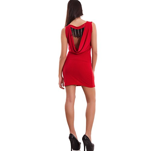Vestito donna miniabito corto brillantini schiena nuda frange sexy nuovo CJ-1953 [Taglia unica,nero] Rosso