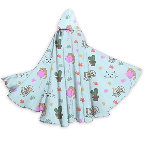 NR Astronaut Cat Cactus Paw Halloween Umhang Fancy Kapuze Cape mit Kordelzug Adult kühle Hexe Robe extralange Partei Cape