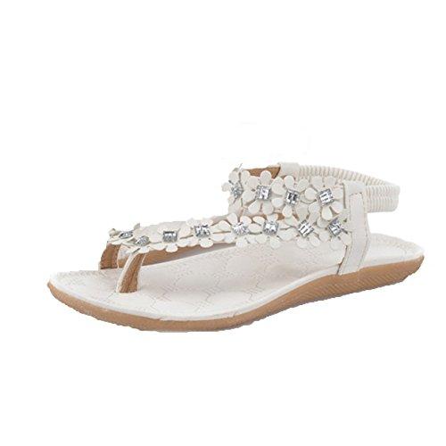 Lalang Damen Dianetten Blumen Sandalen Zehentrenner Sommer Mädchen Schuhe Strand Flip Flop Hausschuhe (35, Weiß)