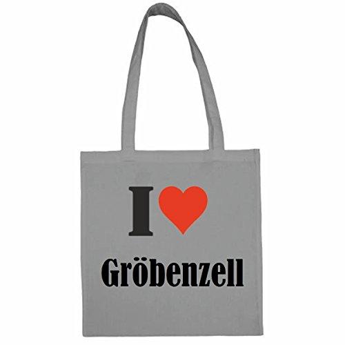 """Tasche""""I Love Gröbenzell""""Größe""""38x42""""Farbe""""Grau""""Druck""""Schwarz"""