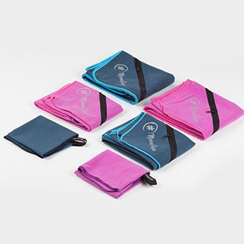 2er-Set Premium Mikrofaser Handtücher – inkl. Packtasche | Ultra saugfähige & schnelltrocknende Sport- und Badehandtücher mit praktischer Reißverschluss Ecktasche | Ideal für Fitness, Yoga, Sauna, Outdoor, Reisen