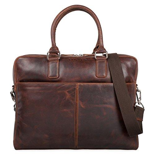 STILORD 'Emilio' Umhängetasche Leder Vintage groß Schultertasche Elegante Handtasche für Büro Business Arbeit Laptop 13.3 Zoll Aktentasche DIN A4, Farbe:Mocca - braun