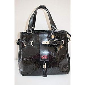 große schwarze Lederhandtasche Handtasche Damentasche