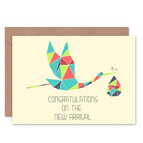 Polygon Stork New Baby Blue Art Greetings Greeting Card Gift