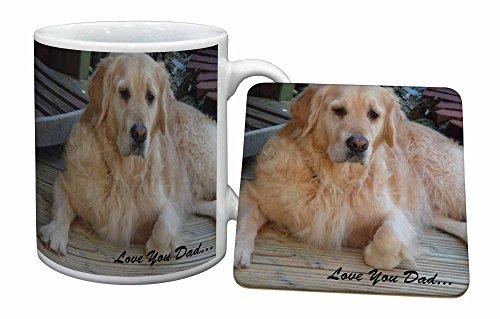 Advanta - Mug Coaster Set Golden Retriever 'Love You Dad' Becher und Untersetzer Tier G