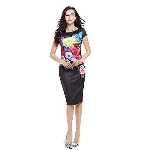 Etosell Femmes Manche Courte Soiree Mini Robes S - 2XL Noir