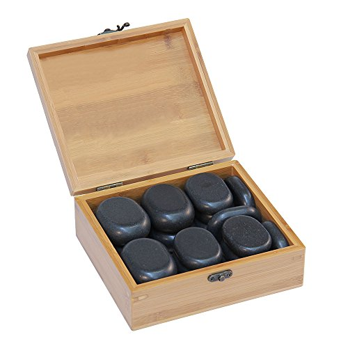 Set Steine Massage (Hot Stone Set, 18 Stck. in dekorativer Bambuskiste - Sonderposten)