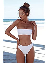 KLXEB Coffre Rassemblez Bikini Noir Blanc en dentelle Maillot de bain Maillot de bain femelle, L, Blanc