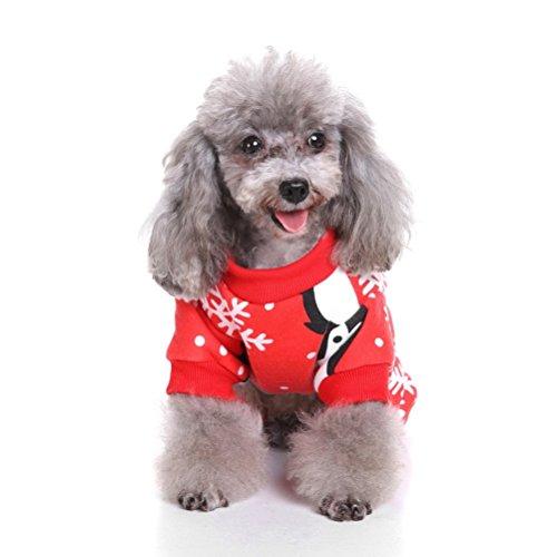 zunea Weihnachten Welpen Kleiner Hund Katze Schlafanzüge, Fleece Jumpsuit Weihnachts Pet Winter Pullover Urlaub Weiche Pyjama Kostüm Kleidung Bekleidung