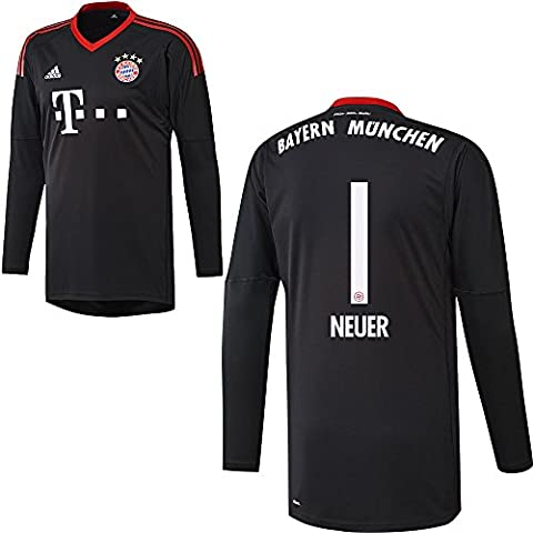 Adidas FC Bayern Munich Football Goalkeeper Jersey Home 2017 2018 Manuel Neuer 1, Boys', black
