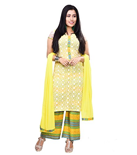 Vedika Creations Yellow Colour Georgette Anarkali Salwar Kameez.