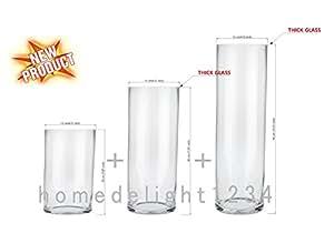 Vase Cylindrique, Lot de 3, verre transparent, comprend: 1Vase (Hauteur: 28cm, dia. 8cm), 1Vase (Hauteur: 23cm, dia. 10cm) et 1Vase (Hauteur: 17cm, dia. 12cm).