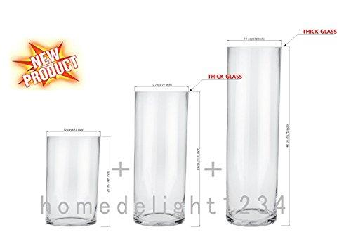 Cilindro jarrón, juego 3, cristal transparente, incluye: