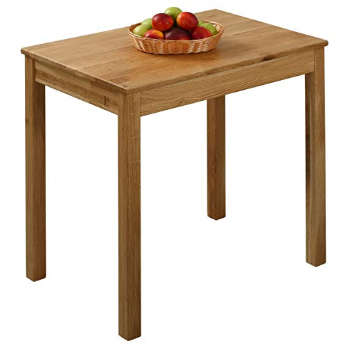 Krokwood Tomas Massivholz Esstisch in Eiche 70x50x75 cm FSC100{91f3cb79cd79adcacf8d18bd5331b95dd720f7b41d6d05a77af16d7128771972} massiv Beistelltisch geölt Eichenholz Esszimmertisch Küche praktischer Küchentisch Holztisch vom Hersteller