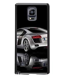 PrintVisa Designer Back Case Cover for Samsung Galaxy Note 4 (silver color car mirror view)