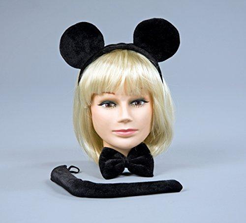 Kostüm Zubehör Maus schwarz Ohren Fliege Schwanz Karneval (Kostüm Schwanz Maus Für Halloween)