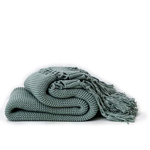 Handgestrickte Decken, Sofadecken, Foto Requisiten, Personalisierte Decke, Hohle Quaste Decken,Green -